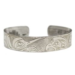 Northwest Coast Native Silver hand carved Bracelet Raven Eagle Whale