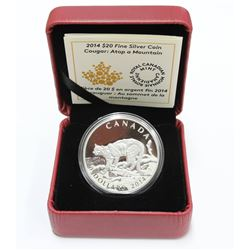 2014 Canada $20 1oz Cougar atop mountain .9999 Pure Silver Coin