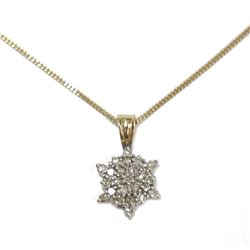 "14 Karat Gold Diamond Star Pendant 18"" chain Necklace"