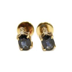 Vivid Blue Sapphire Diamond 14K Gold Stud Earrings