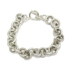"Sterling Silver Toggle Clasp Heavy Link Bracelet with 14k gold ball 8"" Wrist Size"