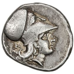 CORINTH: ca. 375-300 BC, AR stater (8.59g), head of Athena to left, VF-EF