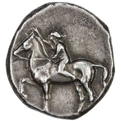 TARENTUM: AR nomos (7.87g), Vlasto 414; SNG ANS 914-5, struck 385-380 BC, nude youth on horse, VF-EF