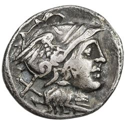 ROMAN REPUBLIC: Anonymous, ca. 2nd century BC, AR denarius (3.82g), Rome. F-VF