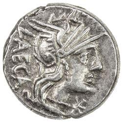 ROMAN REPUBLIC: M. Porcius Laeca, AR denarius (3.65g), Rome. VF-EF
