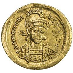 ROMAN EMPIRE: Honorius, 393-423 AD, AV solidus (4.27g). VF