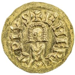 VISIGOTHS IN SPAIN: Swinthila, 621-631, AV tremissis (1.44g), Emerita (Merida). UNC