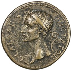 PADUAN & LATER IMITATIONS: ROMAN IMPERATORIAL: Julius Caesar, cast AE medal (27.61g). VF