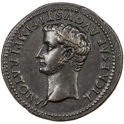 "PADUAN & LATER IMITATIONS: ROMAN EMPIRE: Tiberius, as Caesar, 4-14 AD, AE cast ""sestertius"" (22.91g)"