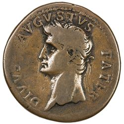 "PADUAN & LATER IMITATIONS: ROMAN EMPIRE: Divus Augustus, died 14 AD, cast AE ""sestertius"" (20.56g)."