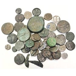 ANCIENT: LOT of 53 bronze and silver coins from around the Mediterranean and Black Sea