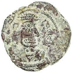ARAB-SASANIAN: 'Udayy, governor of al-Basra ca. 718-720, AE pashiz (2.73g), NM, AH100. VF