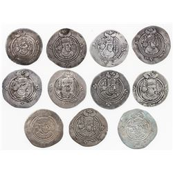 ARAB-SASANIAN: LOT of 11 silver drachms: A-1, in the name of Yazdigerd
