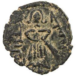 ARAB-BYZANTINE: Standing Caliph, ca. 692-697, AE fals (2.92g), Manbij. VF-EF