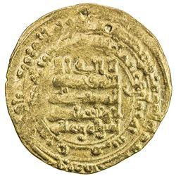 ABBASID: al-Muqtadir, 908-932, AV dinar (4.44g), Qumm, AH308. F-VF