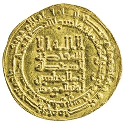 ABBASID: al-Muqtadir, 908-932, AV dinar (3.96g), al-Ahwaz, AH318. EF-AU