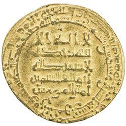 ABBASID: al-Qahir, 932-934, AV dinar (3.93g), Suq al-Ahwaz, AH322. VF