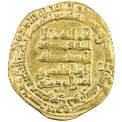 ABBASID: al-Qahir, 932-934, AV dinar (3.17g), Tustar al-Ahwaz, AH322. VF