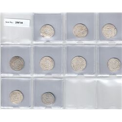 ABBASID: LOT of 9 silver dirhams, a few with minor spots of weakness