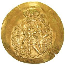 KUSHANO-SASANIAN: Varahran, posthumous, after 350, AV scyphate dinar (7.71g). VF-EF