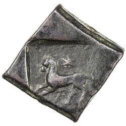 TAXILA: post-Mauryan, ca. 3rd-2nd century BC, AE square unit (12.38g). VF-EF