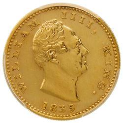 BRITISH INDIA: William IV, 1830-1837, AV mohur, 1835(b), S& W-1.15, restrike, PCGS graded Proof 62