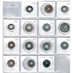 CHINA: LOT of 14 square-hole cash coins, mostly ancient, average circulated condition