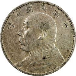 CHINA: Republic, AR dollar, year 3 (1914). PCGS AU50