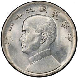 CHINA: Republic, AR dollar, year 21 (1932). PCGS MS62