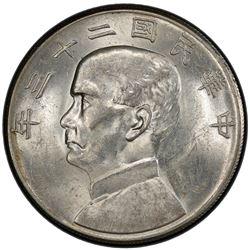 CHINA: Republic, AR dollar, year 23 (1934). PCGS MS61