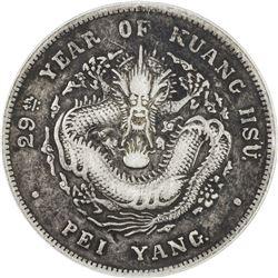 CHIHLI: Kuang Hsu, 1875-1908, AR dollar, year 29 (1903). PCGS VF30