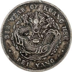 CHIHLI: Kuang Hsu, 1875-1908, AR dollar, year 34 (1908). PCGS EF