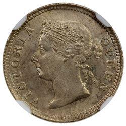 HONG KONG: Victoria, 1842-1901, AR 5 cents, 1897. NGC MS64
