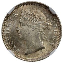 HONG KONG: Victoria, 1842-1901, AR 5 cents, 1901. NGC MS64
