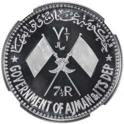 AJMAN: Rashid Bin Hamad al-Naimi, 1928-1981, 7 1/2 riyals, 1970/AH1390. NGC PF68