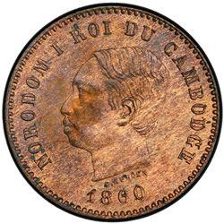 CAMBODIA: Norodom I, 1860-1904, AE 5 centimes, 1860. PCGS PF64