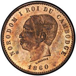 CAMBODIA: Norodom I, 1860-1904, AE 10 centimes, 1860. PCGS PF64