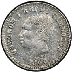 CAMBODIA: Norodom I, 1860-1904, AR franc, 1860. PCGS MS62