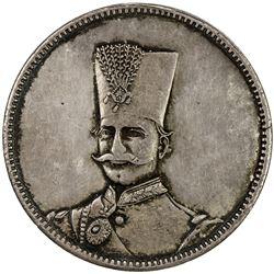 IRAN: Nasir al-Din Shah, 1848-1896, AR 5 krans, Tehran, AH1313. EF-AU