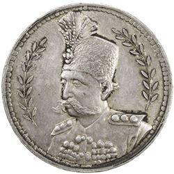 IRAN: Muzaffar al-Din Shah, 1896-1907, AR 5 krans (22.79g), Tehran, 36mm, medallic issue, AU