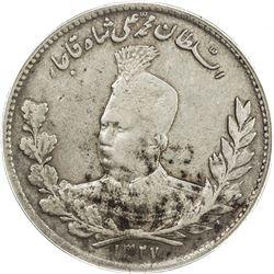 IRAN: Muhammad Ali Shah, 1907-1909, AR 5000 dinars, AH1327. ANACS VF30