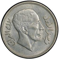 IRAQ: Faisal I, 1921-1933, AR riyal, 1932/AH1350. PCGS AU58