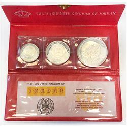 JORDAN: Hussein bin Talal, 1952-1999, 3-coin proof set, 1969/AH1389. PF
