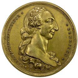 PHILIPPINES: Carlos III, 1759-1788, gilt AE medal, ND (ca. 1782). AU
