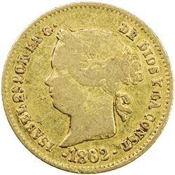 PHILIPPINES: Isabel II, 1833-1868, AV 2 pesos, 1862. F
