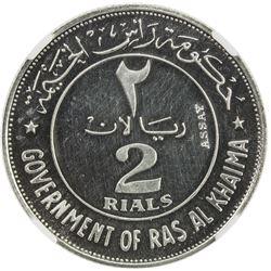 RAS AL KHAIMA: Saqr Bin Muhammad al-Qasimi, 1948-2010, AR 2 rials, 1969/AH1389. NGC PF63