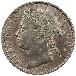 STRAITS SETTLEMENTS: Victoria, 1837-1901, AE 1/4 cent, 1872-H. AU