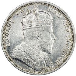 STRAITS SETTLEMENTS: Edward VII, 1901-1910, AR dollar, 1903-B. AU