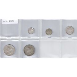 STRAITS SETTLEMENTS: LOT of 5 silver coins, attractive little group of Queen Victoria silver coins