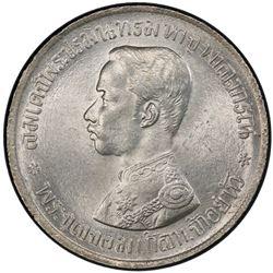 THAILAND: Rama V, 1868-1910, AR baht, RS125 (1906). PCGS MS64